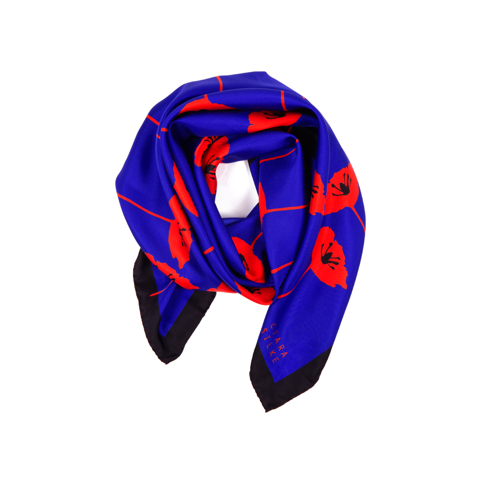 DESIGNER BLÁTH POIPÍN SCARF IN KLEIN BLUE, RED, AND BLACK