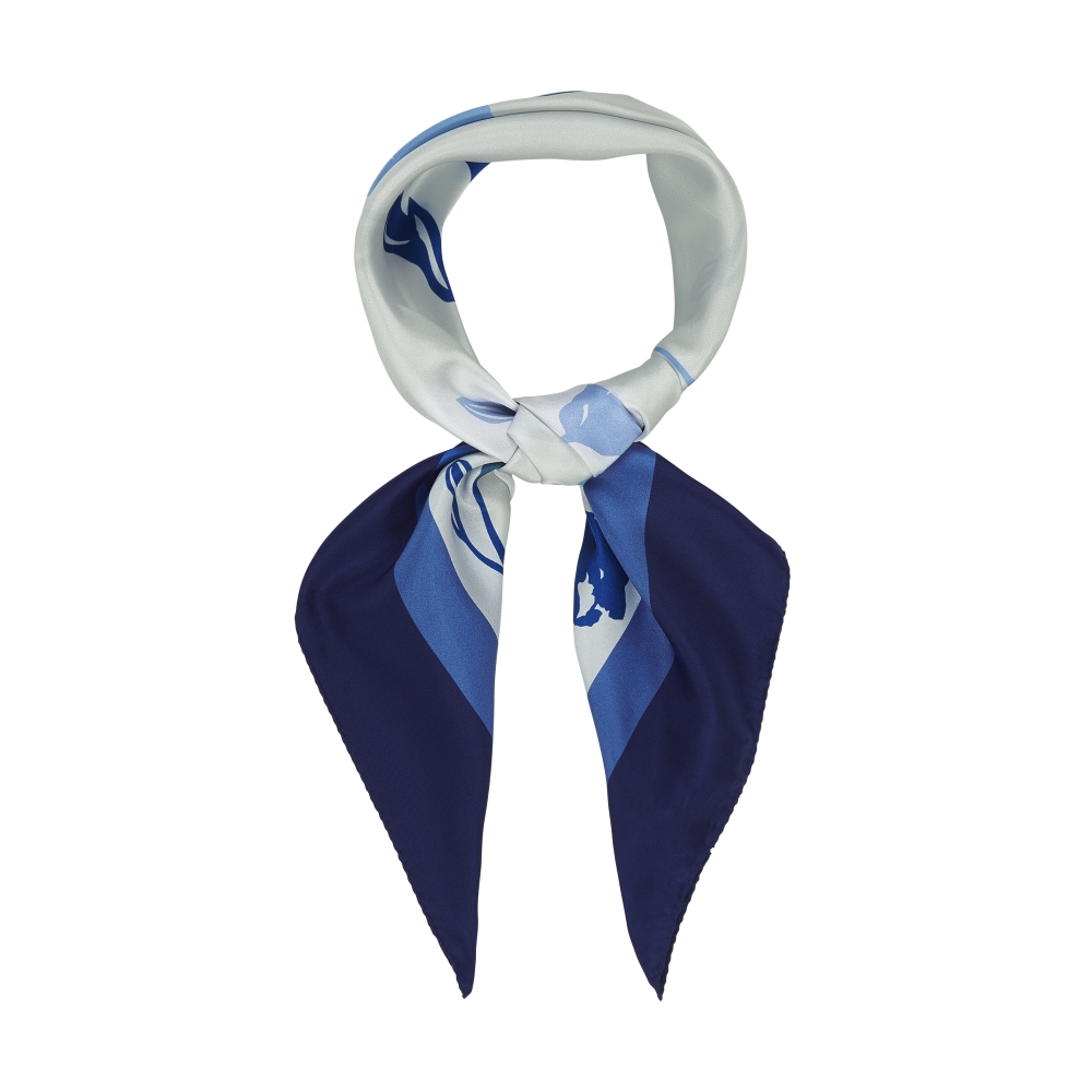 DESIGNER ALBURY TULIP SCARF IN WHITE, NAVY AND BLUE