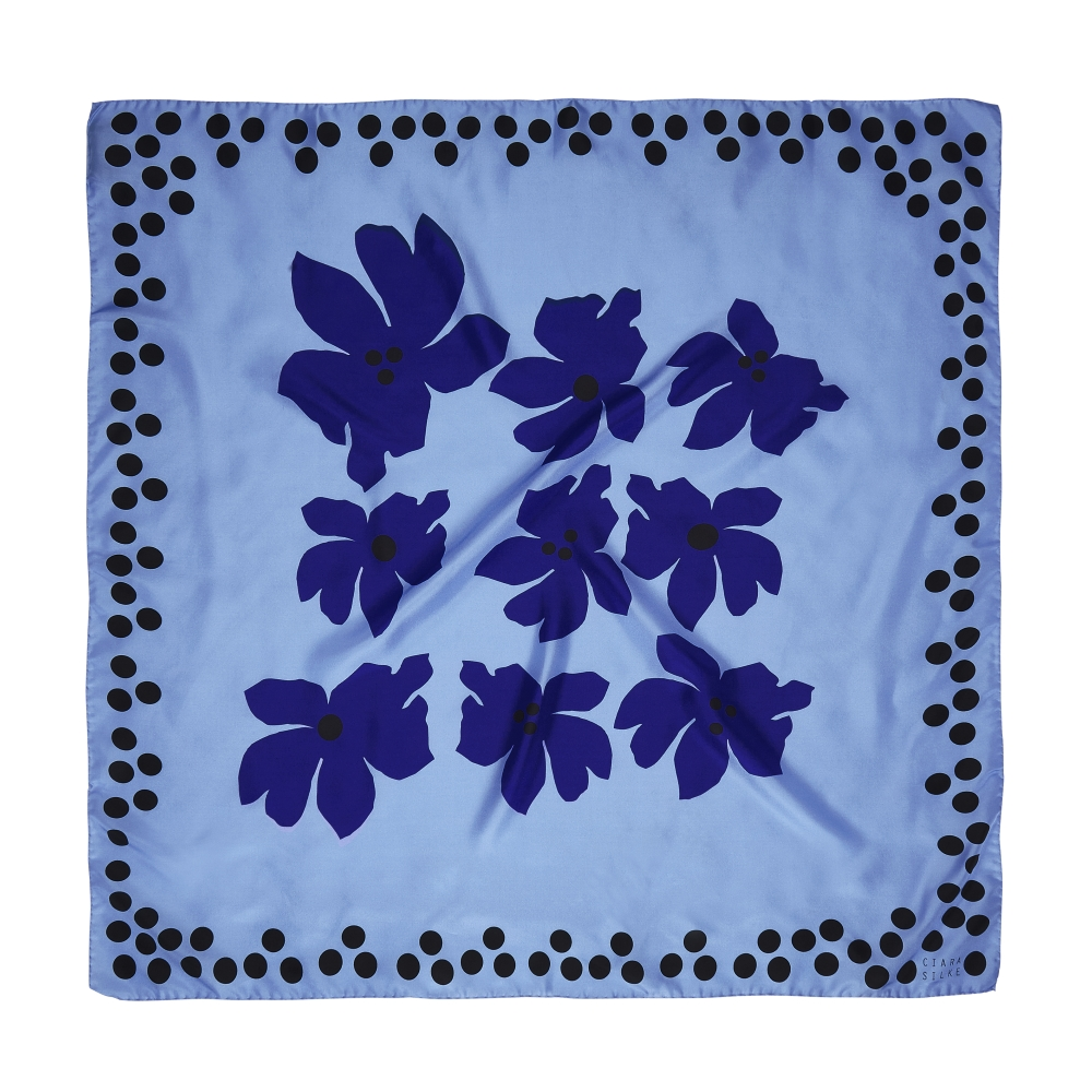 DESIGNER SWAMP ROSE SCARF IN SLATE BLUE, SKYBLUE, AND BLACK