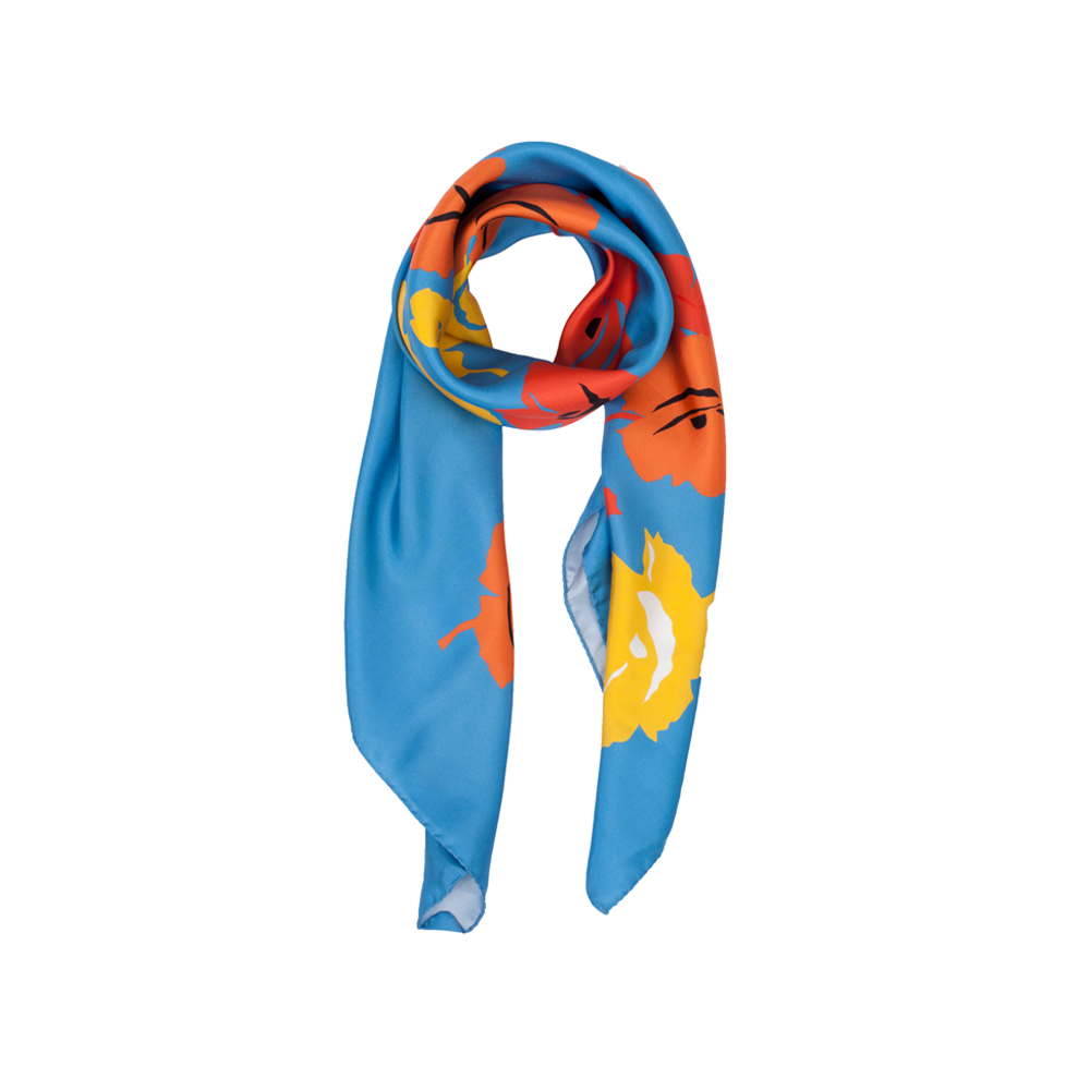 DESIGNER BROOKLYN DAISY SCARF IN BLUE, YELLOW, RED AND ORANGE
