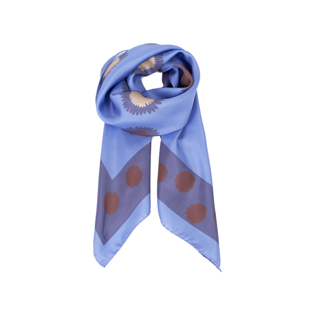DESIGNER FLOURISHING GARDEN SCARF IN LILAC, PURPLE, CREAM AND COPPER