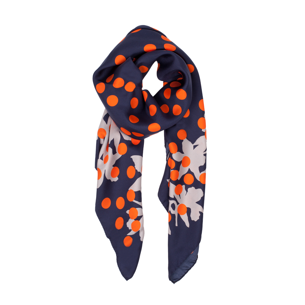DESIGNER MILLIONBELLS SCARF IN NAVY, ORANGE AND GREY