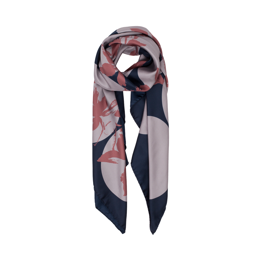 DESIGNER SPOTTED JEWELWEED SCARF IN NAVY, GREY AND ROSEWOOD