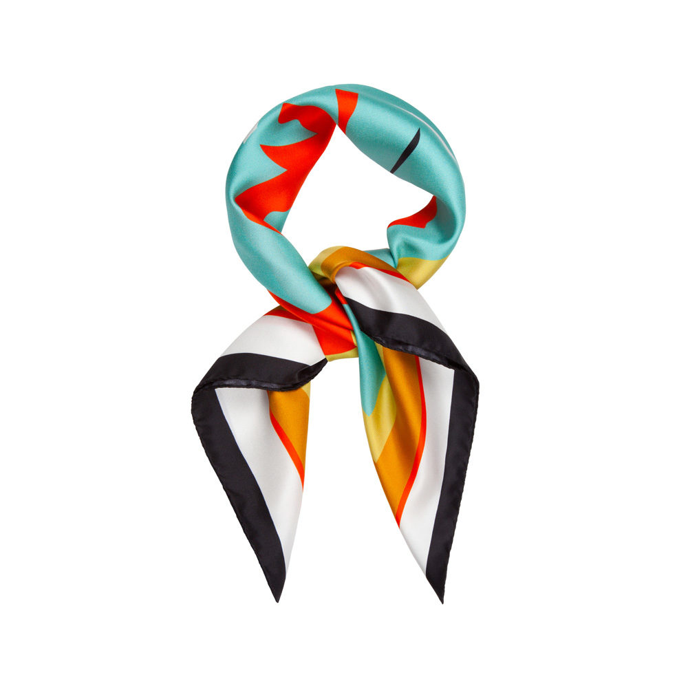 DESIGNER YURI SCARF IN TURQUOISE, WHITE, BLOOD ORANGE AND BLACK