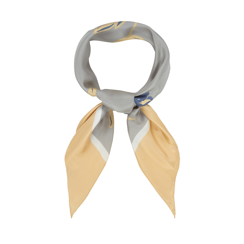 DESIGNER ALBURY TUILIP SCARF IN SILVER, APRICOT AND WHITE