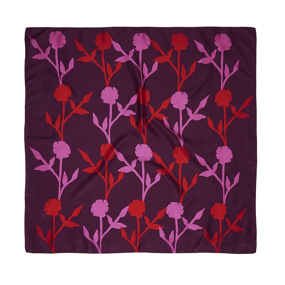 DESIGNER GARDENIA SCARF IN BERRY, MAGENTA AND PINK