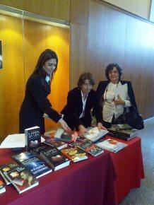 As professoras Lara Mota, Maria José Cruz e Emília Oliveira da RBL