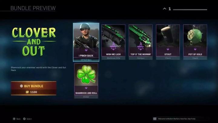 Call Of Duty: Warzone adiciona novas microtransações do dia de São Patrício, incluindo o Guinness