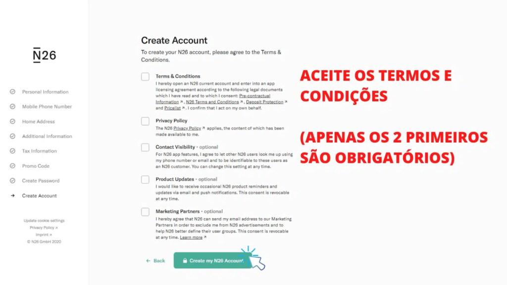 tela mostrando o passo 14 de como abrir conta no banco n26 portugal