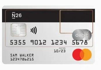 imagem do cartão da conta do banco n26 portugal grátis