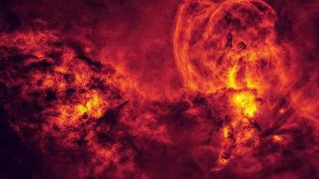 Foto do prêmio australiano de astronomia de nebulosa espacial que parece incêndio florestal
