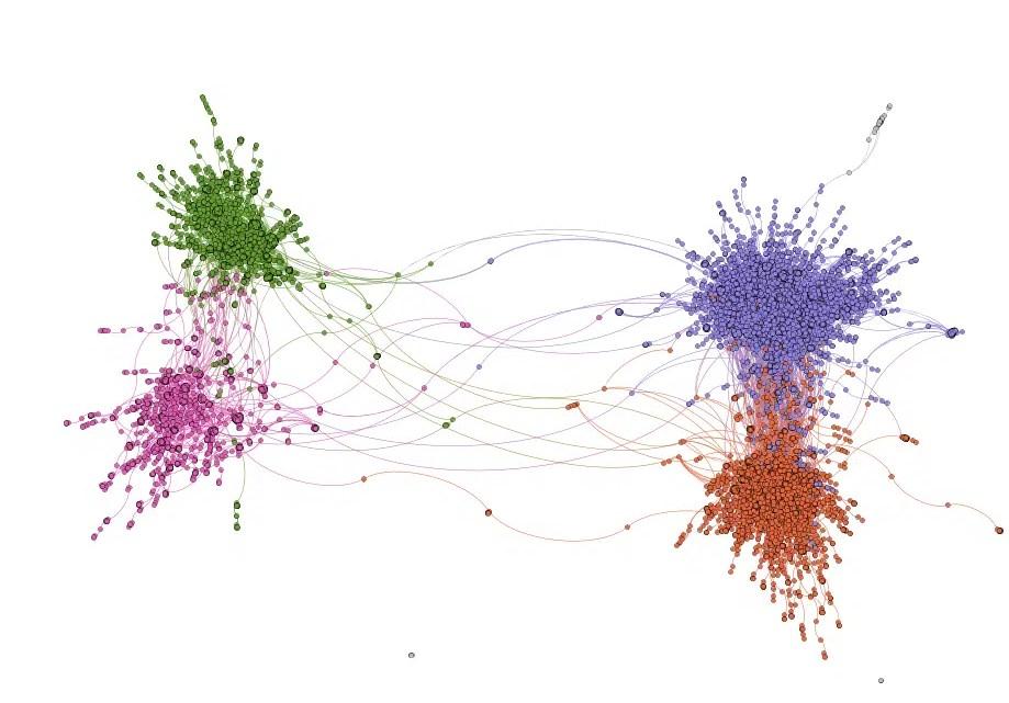 Como o algoritmo de desdobramento rápido detecta comunidades em grandes redes