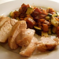chicken with bacon, sweet potato and courgette