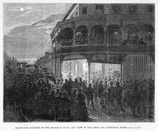1871 Sandhurst-Exterior of the Shamrock Hotel and view of Pall Mall on Saturday night SLV website IAN