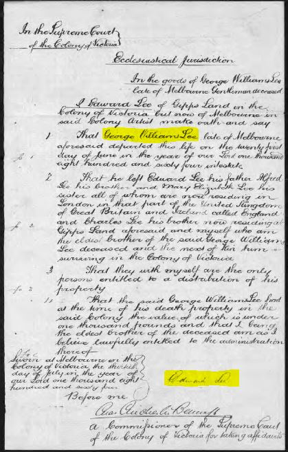 1864 Probate papers for George Williams LEE