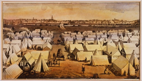 Canvas Town between Princess Bridge and South Melbourne 1850s