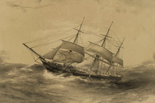 Clipper Ship 'Blackwall', 1000 Tons, in a squall off New Zealand on her homeward passage Decr 16th 1857,National Maritime Museum, Greenwich, LondonPAH9334
