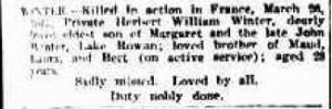 1917 Death notice for Herbert William WINTER 27 April The Argus