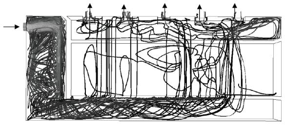 Figure 11 : Lignes de courant pour le test 7