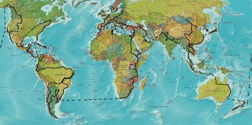 le nazioni del giro del mondo in bici