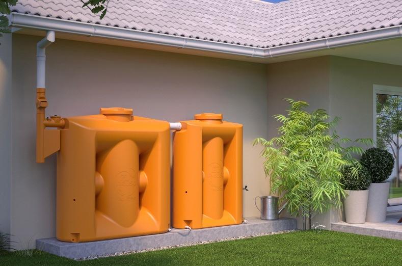 Cisterna vertical ocupa menos espaço e filtra a água da chuva para reúso