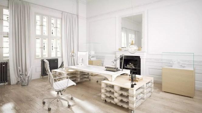 Aqui os estrados servem de suporte para uma mesa de trabalho, mostrando que dá para usá-lo até em ambientes mais formais.