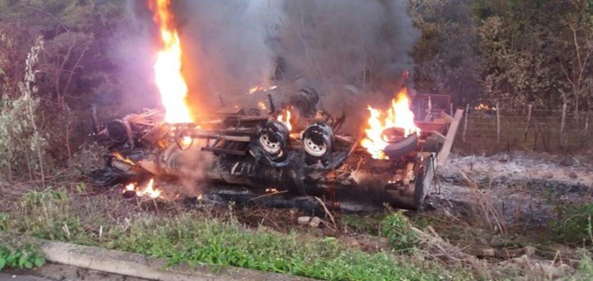 Caminhão-tanque tomba e explode na PI-305 após motorista tentar desviar de animal