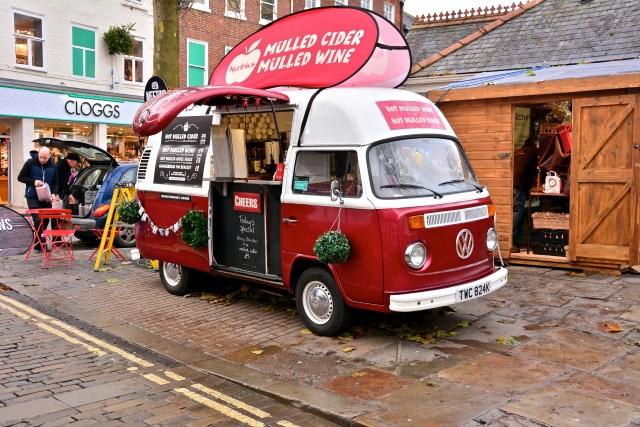 A van selling mulled cider in York, UK