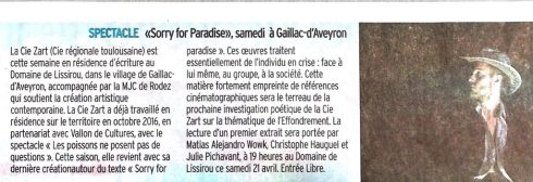 Article Centre Presse - Sorry For Paradise - Zart Compagnie - Rodez