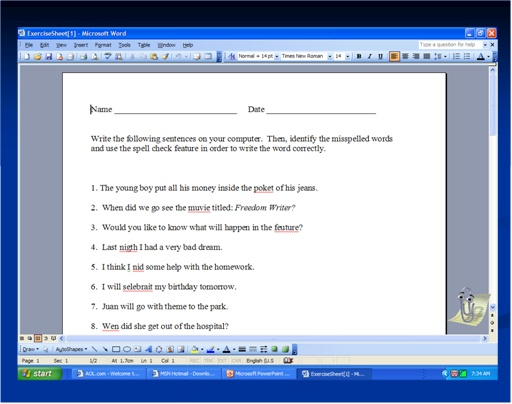 Slide 1. Sample of Student Writing Exercise Sheet