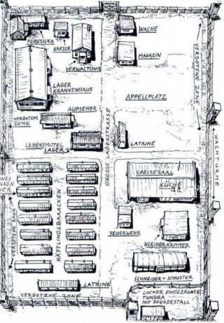 Plan jednego z łagrów Gułagu (w Workucie), narysowany według wspomnień niemieckich jeńców.