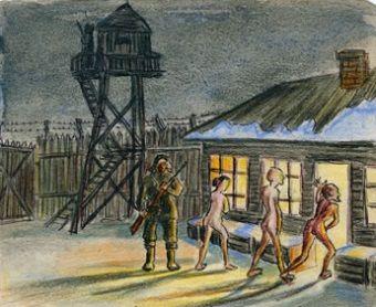 Fragment ilustracji pochodzącej z książki Eufrozinji Antonowny Kersnowskiej, która spędziła w Gułagu 12 lat, a swoje wspomnienia spisała i zilustrowała.