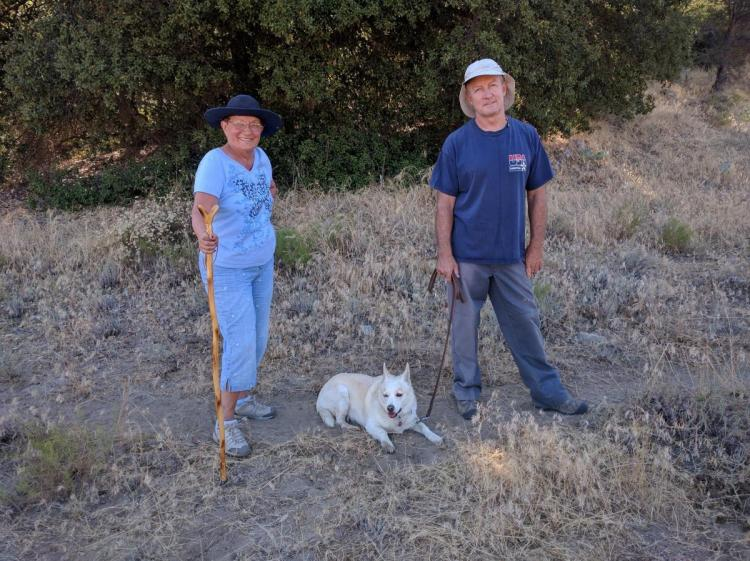Louise, Ginger, and Dennis on walk to Indian Hill 2016