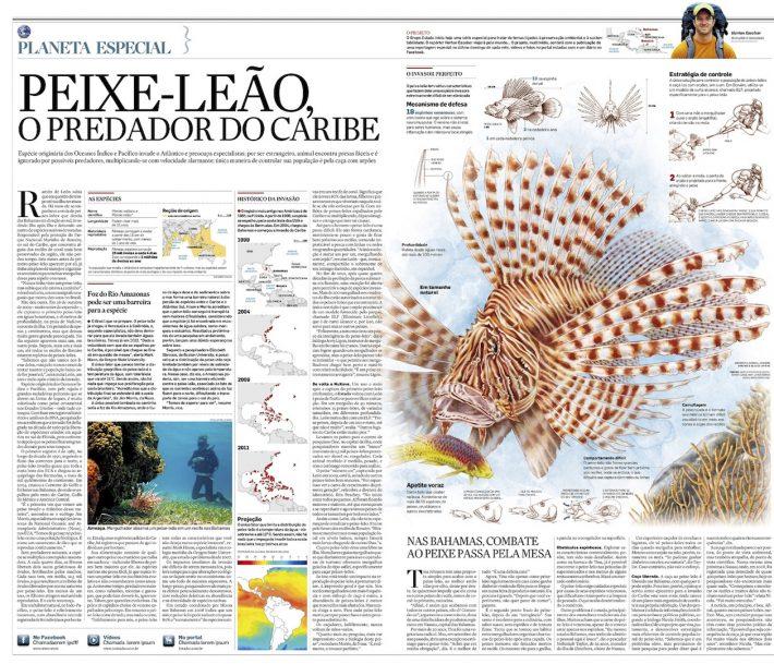 Reportagem especial sobre a invasão do Caribe pelo peixe-leão, publicada no Estadão em 2011.