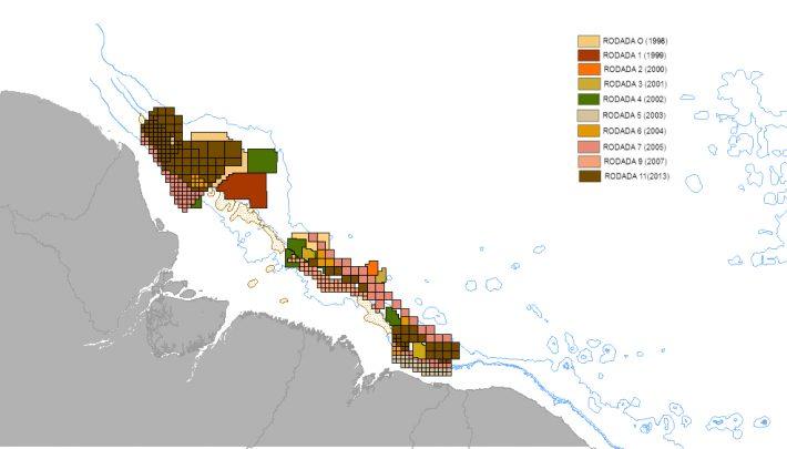 Localização dos blocos ofertados para exploração de gás e petróleo na região da foz do Amazonas. Crédito: Laís Araújo/UFRJ; com dados do site da ANP