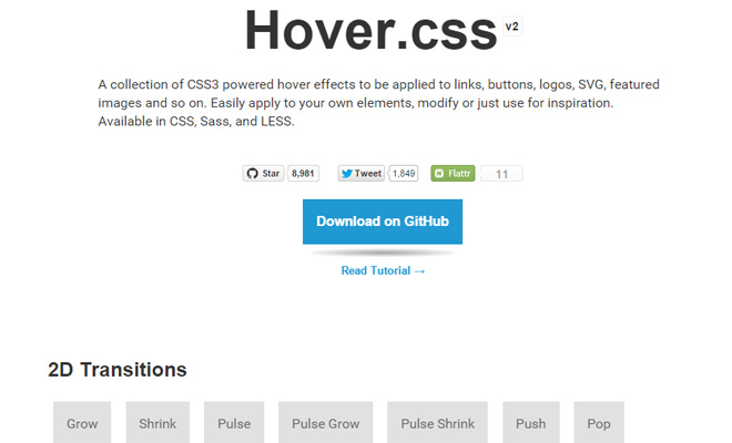 Hover.css - Coleção de efeitos em CSS3