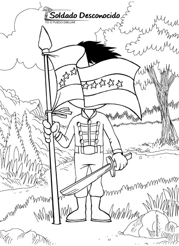 dibujos colorear  soldado desconocido