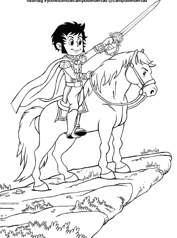 dibujos colorear simón bolívar a caballo