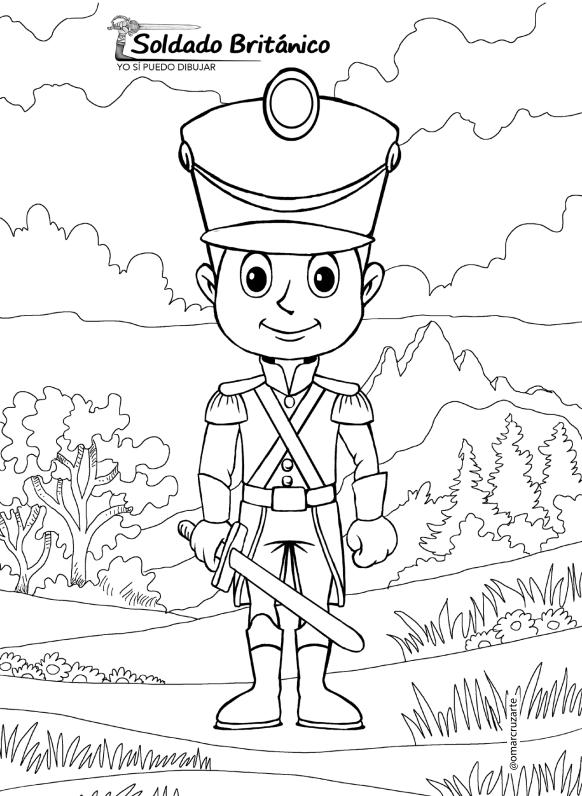 dibujos colorear  soldado britanico
