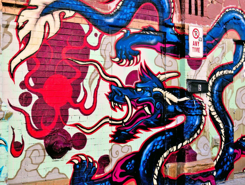 Chińskie smoki na ścianach