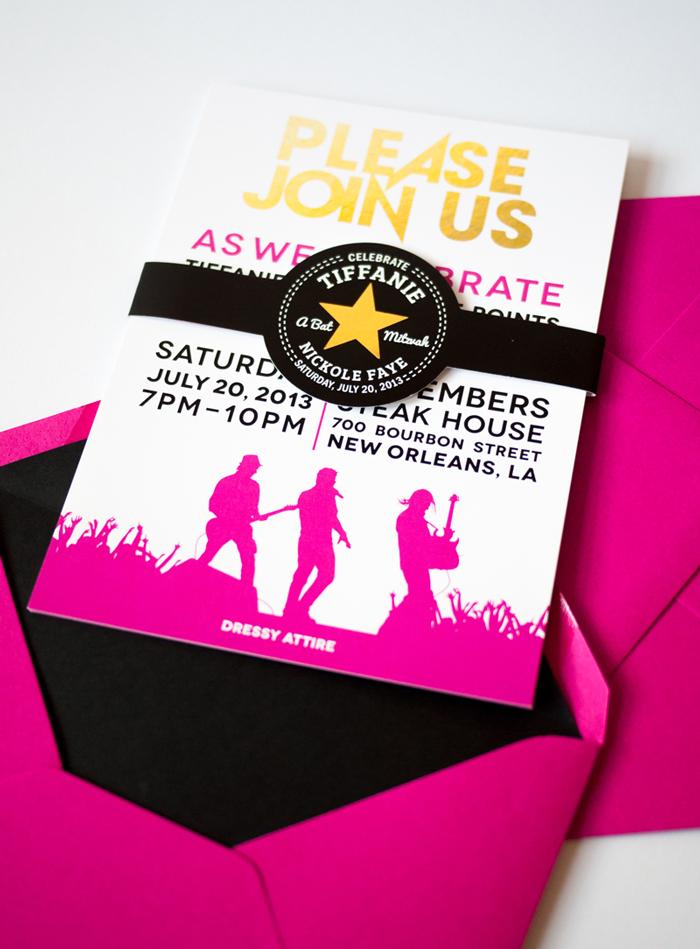 Black Pink Gold Bat Mitzvah Invite Ciera Design