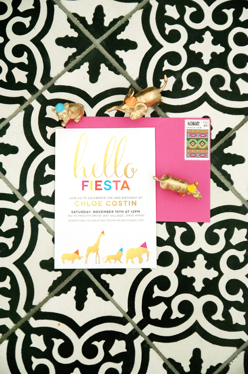 hello fiesta party invitation, pink envelope and gold animals