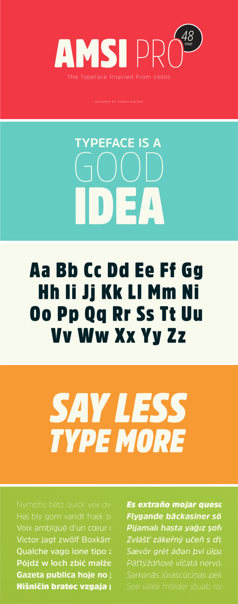 Amsi Pro Font Sample by Stawix Ruecha