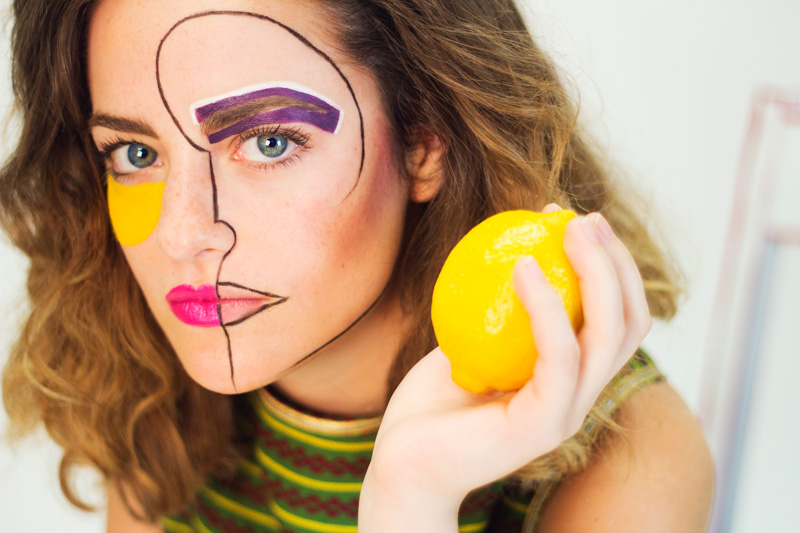 Picasso Inspired Woman with Lemon Portrait