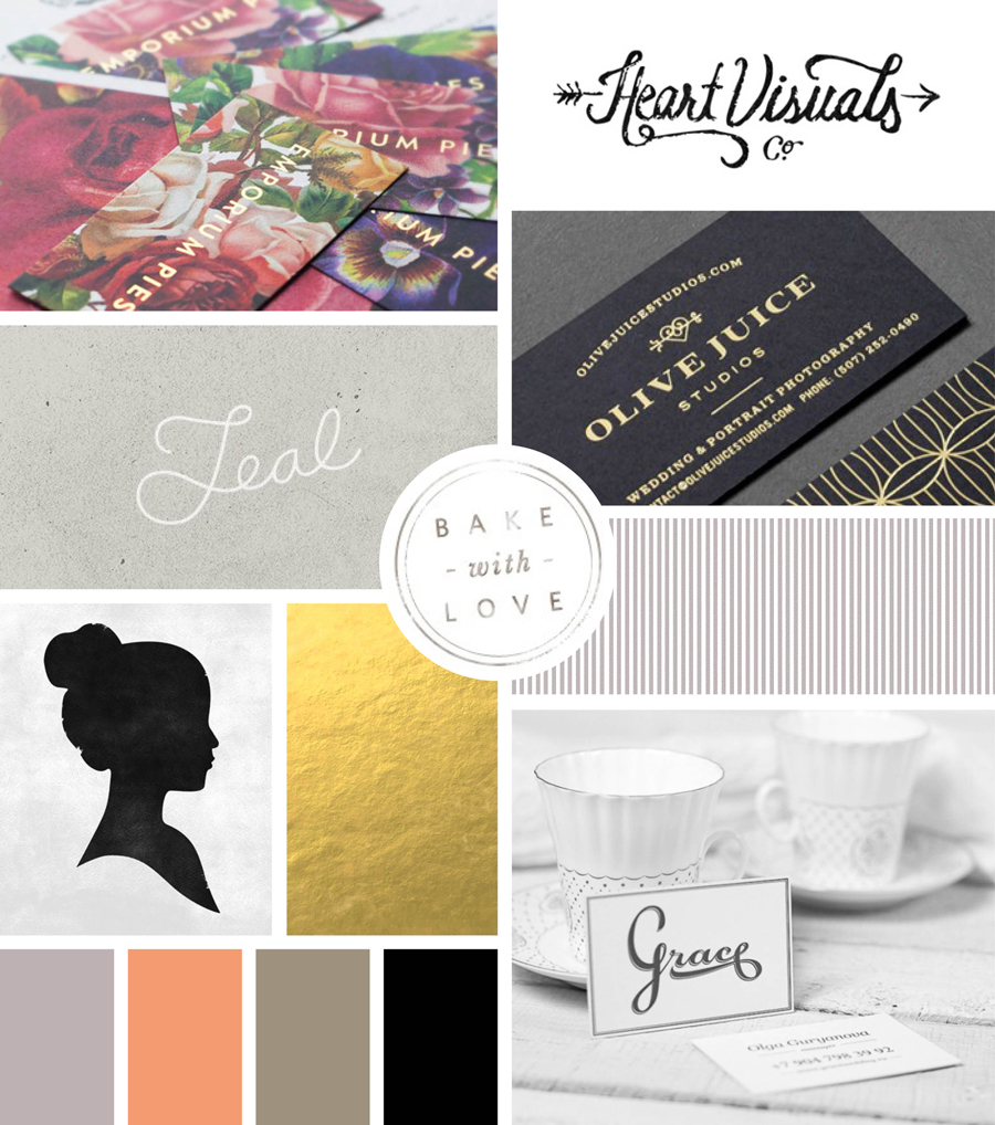 Simple, elegant and sophisticated brand mood board.