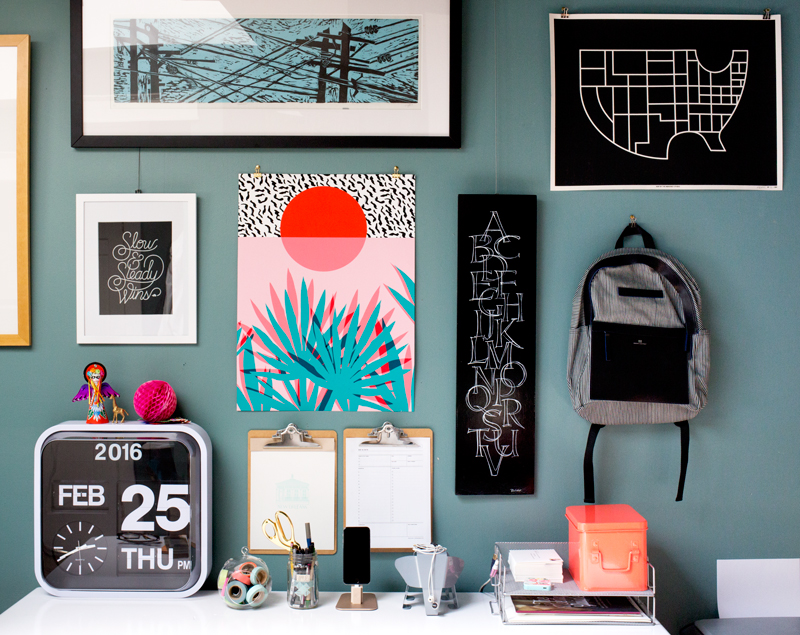 A Fun and Bright Gallery Wall With Contemporary Prints