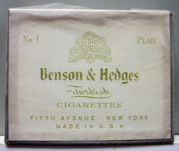 Benson & Hedges Turkish Cigarettes No. 1 Plain 10 - vintage American Cigarette Pack