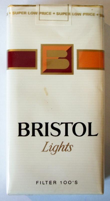 Bristol Lights Filter 100's - vintage American Cigarette Pack