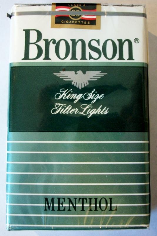 Bronson Filter Lights Menthol, King Size - vintage American Cigarette Pack