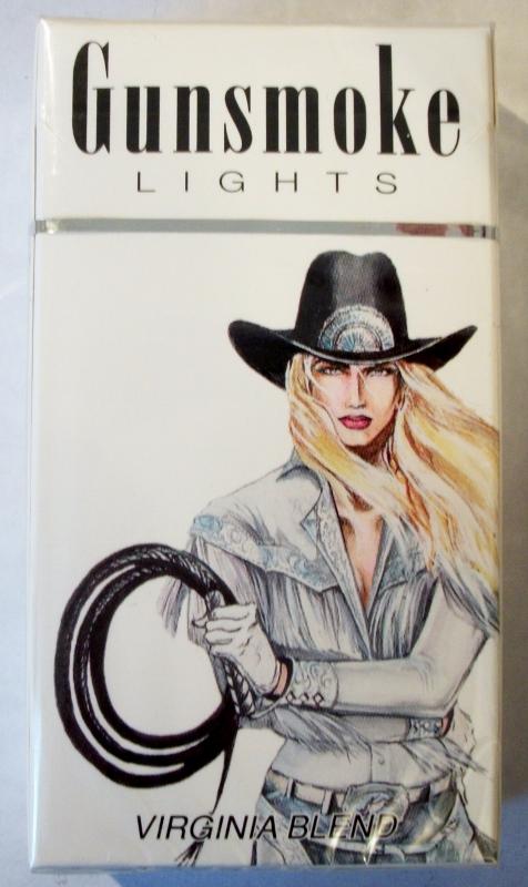 Gunsmoke Lights 100's Virginia Blend box - vintage American Cigarette Pack